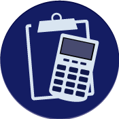 icon of a clipboard and a calculator